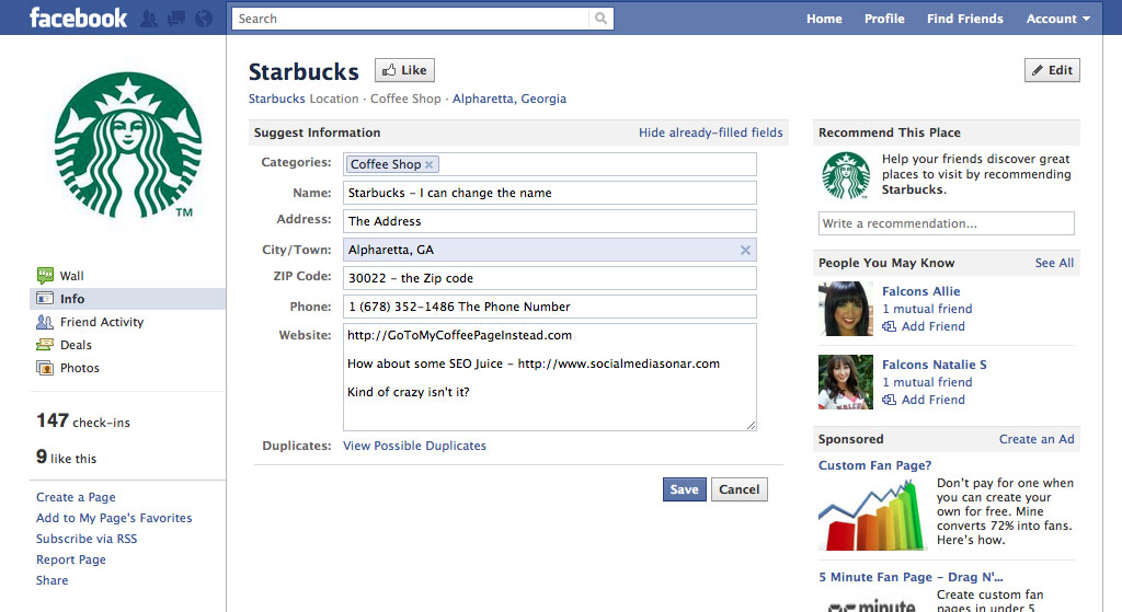 starbucks page1 Can Your Facebook Presence Be Hijacked?