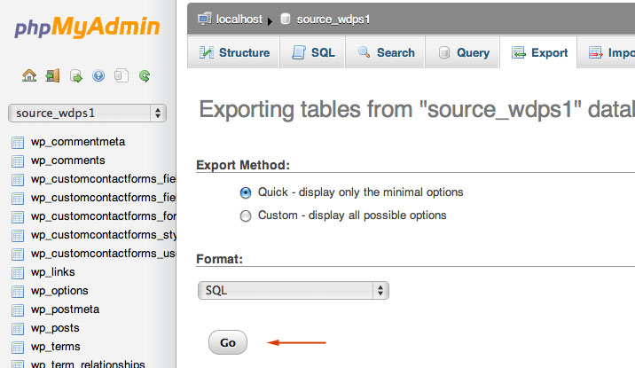 export database Move Wordpress Site to a New Host